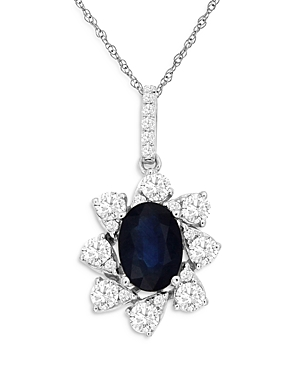 Bloomingdale's Sapphire & Diamond Classic Pendant Necklace in 14K White Gold, 18 - 100% Exclusive
