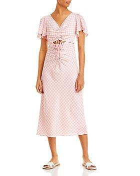 Lucy Paris - Cutout Flutter Sleeve Gingham Dress