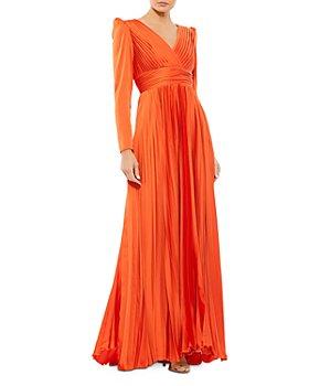 Mac Duggal - Pleated Long Sleeve Gown