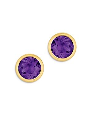 Bloomingdales Amethyst Bezel Set Stud Earrings in 14K Yellow Gold - 100% Exclusive