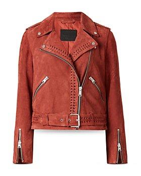 ALLSAINTS - Braided Trim Suede Moto Jacket