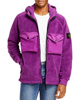 Stone Island - Cotton Blend Fleece Regular Fit Full Zip Hoodie