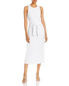AQUA - Tie Waist Rib Knit Midi Dress - 100% Exclusive