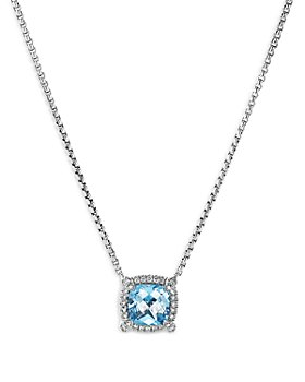 "David Yurman - Sterling Silver Chatelaine Blue Topaz & Diamond Pendant Neckalce, 18"" - 100% Exclusive"