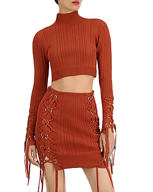 Herve Leger Variegated Rib Lace Up Crop Top