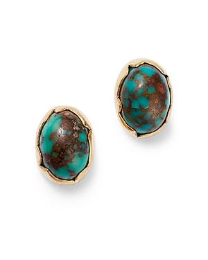 18K Yellow Gold Turquoise Matrix Egg Stud Earrings