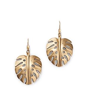 14K Yellow Gold Palm Leaf Drop Earrings