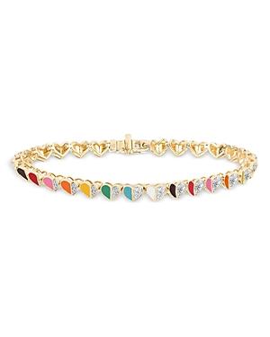 14K Yellow Gold Ceramic Folded Hearts Diamond Pave Heart Link Bracelet
