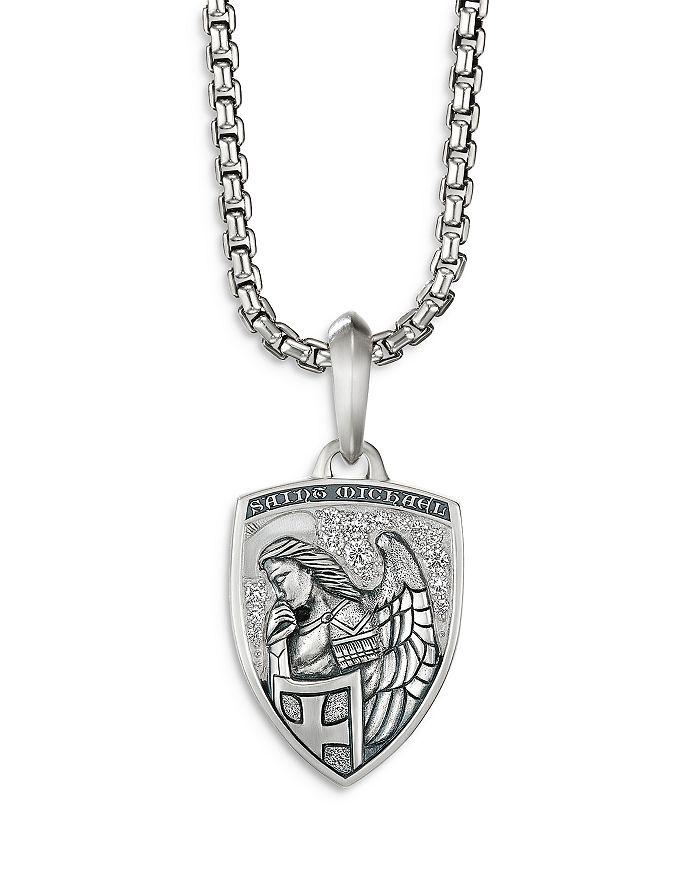David Yurman - Sterling Silver & Pavé Diamond St. Michael Medallion Amulets