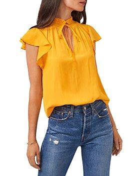 1.STATE - Flutter Sleeve Split Neck Top