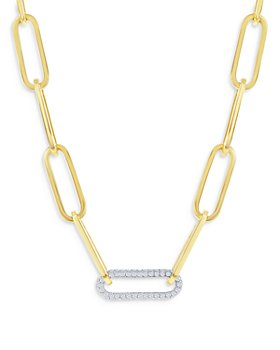 Bloomingdale's - Diamond Paperclip Necklace in 14K White & Yellow Gold, 1.45 ct. t.w. - 100% Exclusive