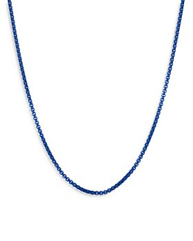 David Yurman - Box Chain Necklace in Blue Sterling Silver & Stainless Steel