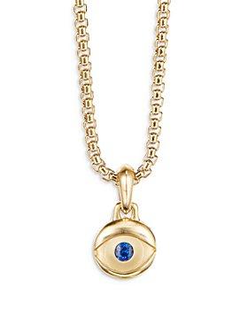 David Yurman - Men's 18K Yellow Gold Blue Sapphire Evil Eye Amulet Pendant