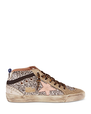 Golden Goose Women's Mid Star Glitter Covered Mid Top Sneakers