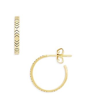 Chevron Open Hoop Earrings in 14K Gold Plated Sterling Silver