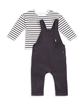 FIRSTS by petit lem - Boys' Organic Cotton Overall & Long Sleeve Striped Tee - Baby