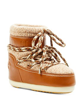 Chloé - Moon Boot x Chloé Knit & Leather Snow Boots