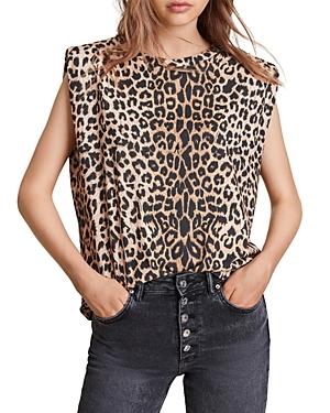 Allsaints Coni Leopard Print Shoulder Pad Tank