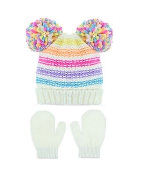 Capelli - Girls' 2 Pc. Knit Pom Poms Hat & Mittens Set - Baby, Toddler