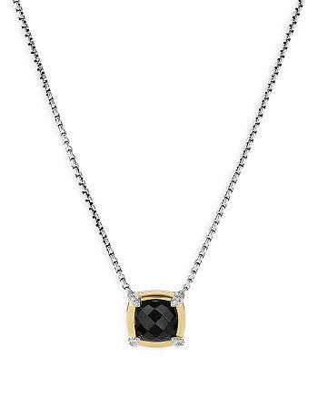 "David Yurman - Sterling Silver Petite Chatelaine® Onyx & Diamond Pendant Necklace with 18K Yellow Gold, 18"""