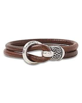 John Varvatos Collection - Men's Sterling Silver & Leather Hook Wrap Bracelet