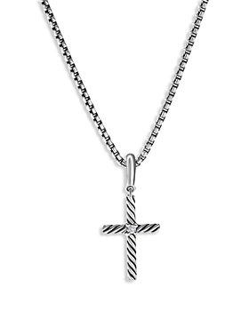David Yurman - Sterling Silver Amulets Diamond Cross Pendant