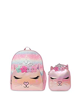 OMG Accessories -  Girls' 2 Pc. Set Glitter Bella Kitty Large Backpack & Lunch Bag