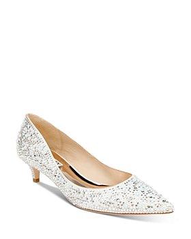 Badgley Mischka - Women's Madison Pointed Toe Embellished Kitten Heel Pumps