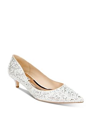 Women's Madison Pointed Toe Embellished Kitten Heel Pumps