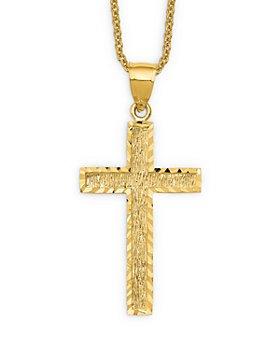 """Bloomingdale's - Men's  Textured Cross Pendant Necklace in 14K Yellow Gold, 20"""" - 100% Exclusive"""