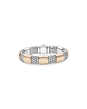 Lagos 18K Rose Gold & Sterling Silver High Bar Logo Crest Statement Bracelet