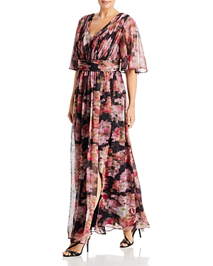 Floral Chiffon Draped Gown