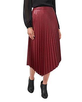 VINCE CAMUTO - Asymmetric Hem Faux Leather Skirt