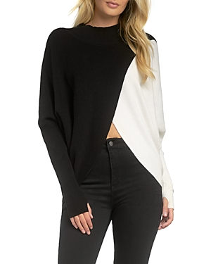 Mock Neck Color Blocked Sweater