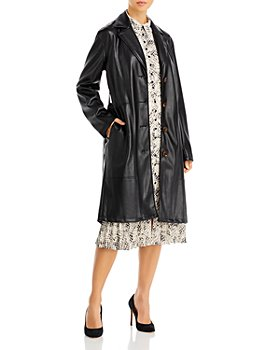 T Tahari - Faux Leather Long Sleeve Notch Collar Button Down Jacket
