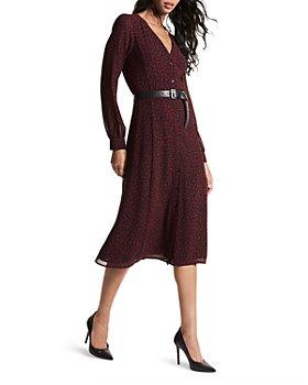 MICHAEL Michael Kors - Belted Long Sleeve Midi Dress