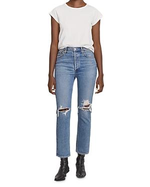 Agolde Riley Crop Straight Leg Jeans in Whiplash