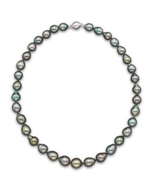 Natural Color Tahitian Pearl Strand Necklace in 14K White Gold, 18