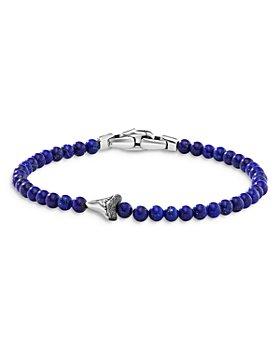 David Yurman - Sterling Silver Spiritual Beads Shark Tooth Bracelet with Lapis
