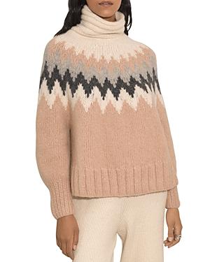 Magnea Zigzag Striped Mock Neck Sweater