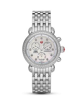 MICHELE - CSX36 Day Diamond Embellished Watch Head, 36mm & Stainless Steel 7-Link Watch Bracelet, 18mm
