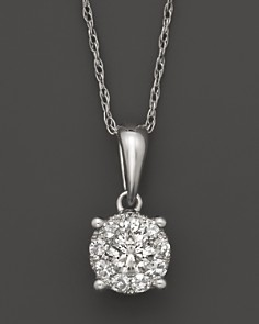 Diamond Cluster Pendant Necklace in 14K White Gold, 1.0 ct. t.w. - Bloomingdale's_0