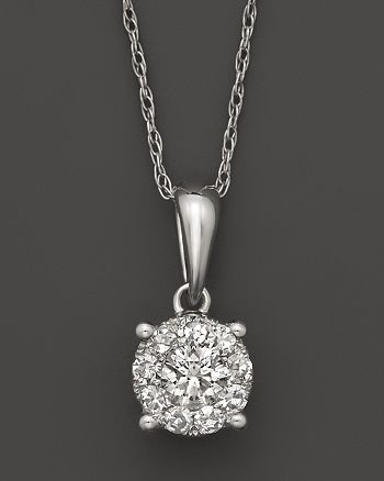 Bloomingdale's - Diamond Cluster Pendant Necklace in 14K White Gold, 1.0 ct. t.w.- 100% Exclusive