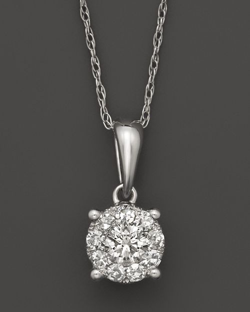 Bloomingdale's - Diamond Cluster Pendant Necklace in 14K White Gold, .25-1.0 ct. t.w. - 100% Exclusive