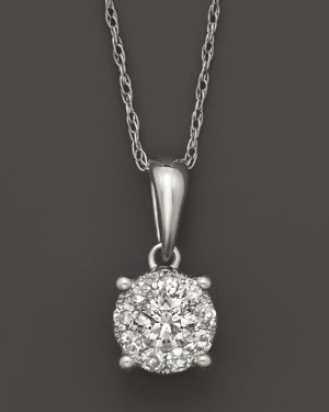 Diamond Cluster Pendant Necklace in 14K White Gold, 1.0 ct. t.w.