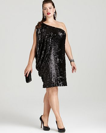 5162dc9c1ff2e Multiple Brands - Aidan Mattox Plus Size One Shoulder Sequin Dress and  Sondra Roberts Large Pleated