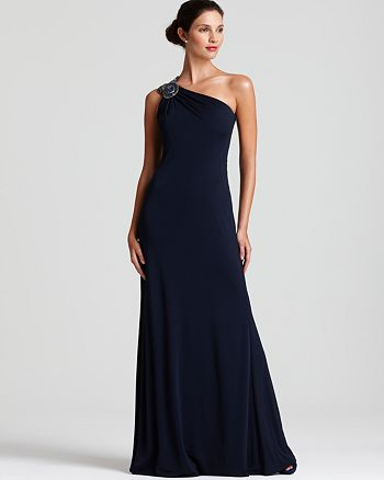 David Meister Gown - Jeweled One-Shoulder Jersey | Bloomingdale\'s