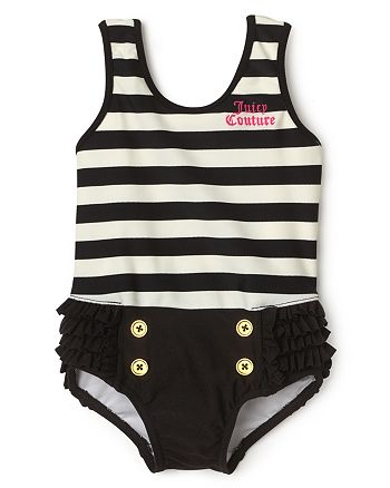 Juicy Couture Black Label - Stripe Ruffle Swim Suit - Sizes 3-24 Months