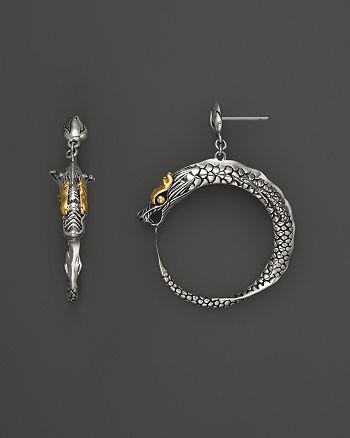 John Hardy Naga 18k Gold And Silver Dragon Earrings