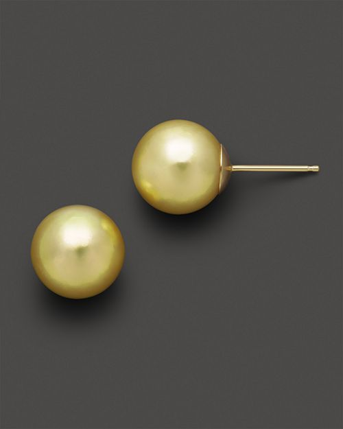 Bloomingdale's - Cultured Golden South Sea Pearl Stud Earrings - 100% Exclusive